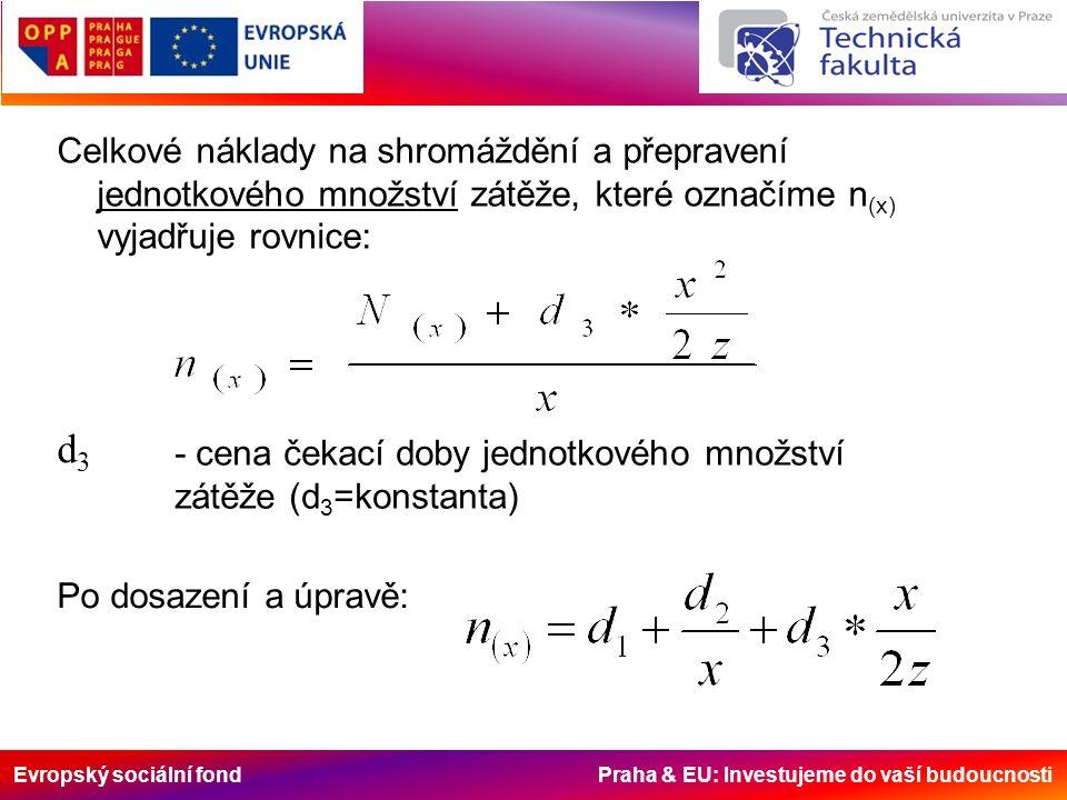 Evropský sociální fond Praha & EU: Investujeme do vaší budoucnosti Celkové náklady na shromáždění a přepravení jednotkového množství zátěže, které označíme n (x) vyjadřuje rovnice: d3d3 - cena čekací doby jednotkového množství zátěže (d 3 =konstanta) Po dosazení a úpravě:
