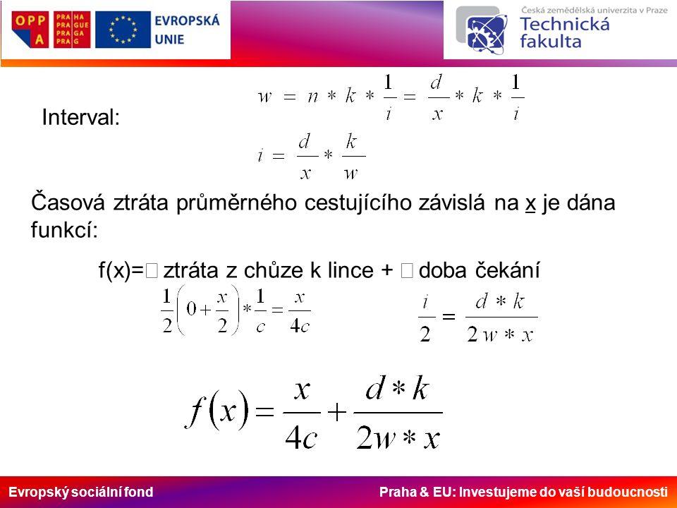Evropský sociální fond Praha & EU: Investujeme do vaší budoucnosti Interval: Časová ztráta průměrného cestujícího závislá na x je dána funkcí: f(x)=  ztráta z chůze k lince +  doba čekání