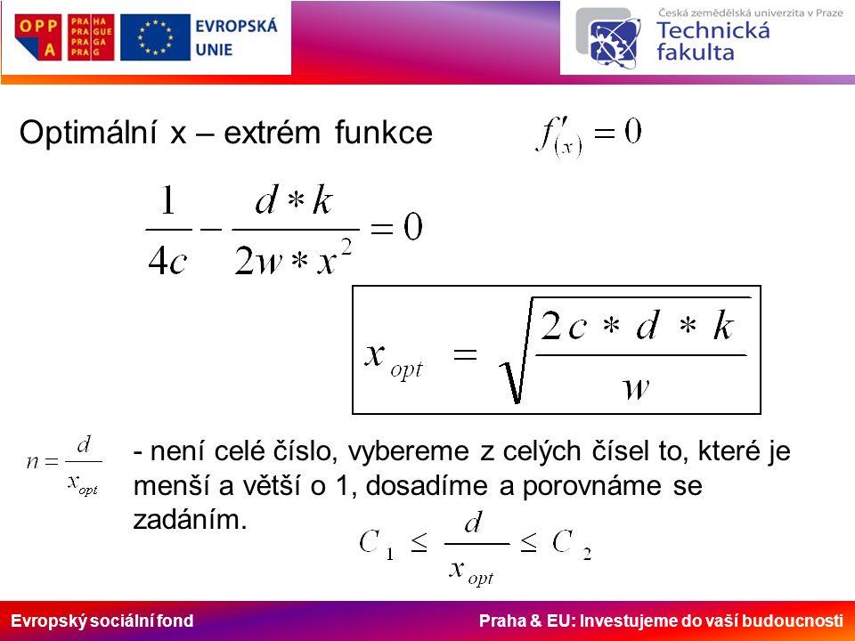 Evropský sociální fond Praha & EU: Investujeme do vaší budoucnosti Optimální x – extrém funkce - není celé číslo, vybereme z celých čísel to, které je menší a větší o 1, dosadíme a porovnáme se zadáním.