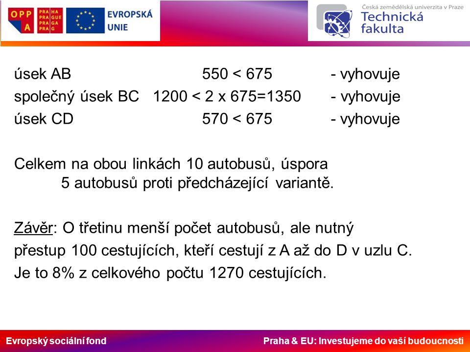 Evropský sociální fond Praha & EU: Investujeme do vaší budoucnosti úsek AB550 < 675 - vyhovuje společný úsek BC 1200 < 2 x 675=1350 - vyhovuje úsek CD570 < 675 - vyhovuje Celkem na obou linkách 10 autobusů, úspora 5 autobusů proti předcházející variantě.