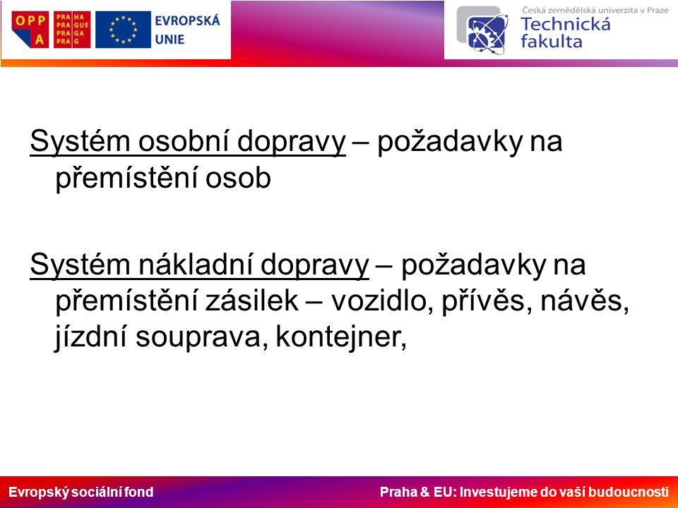 Evropský sociální fond Praha & EU: Investujeme do vaší budoucnosti Systém osobní dopravy – požadavky na přemístění osob Systém nákladní dopravy – požadavky na přemístění zásilek – vozidlo, přívěs, návěs, jízdní souprava, kontejner,