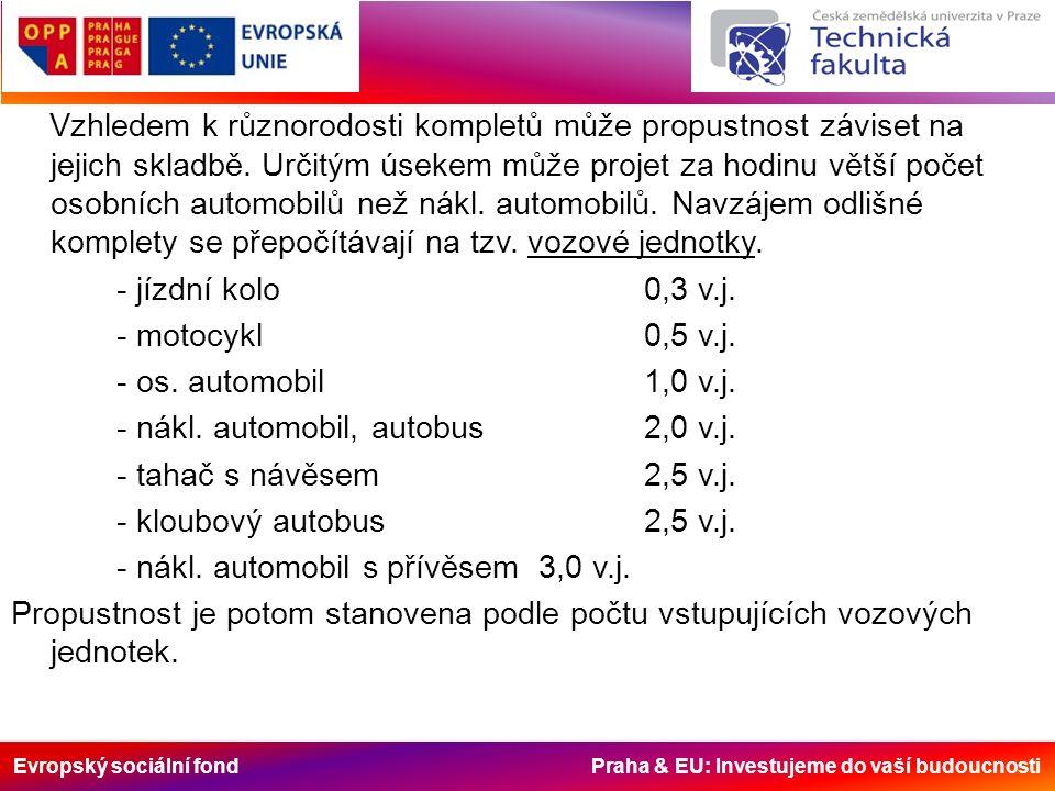 Evropský sociální fond Praha & EU: Investujeme do vaší budoucnosti Vedlo propustnosti se někdy zavádí dynamická veličina a to výkonnost úseku, která je udávána množstvím elementů, které jsou přepraveny úsekem za jednotku času.