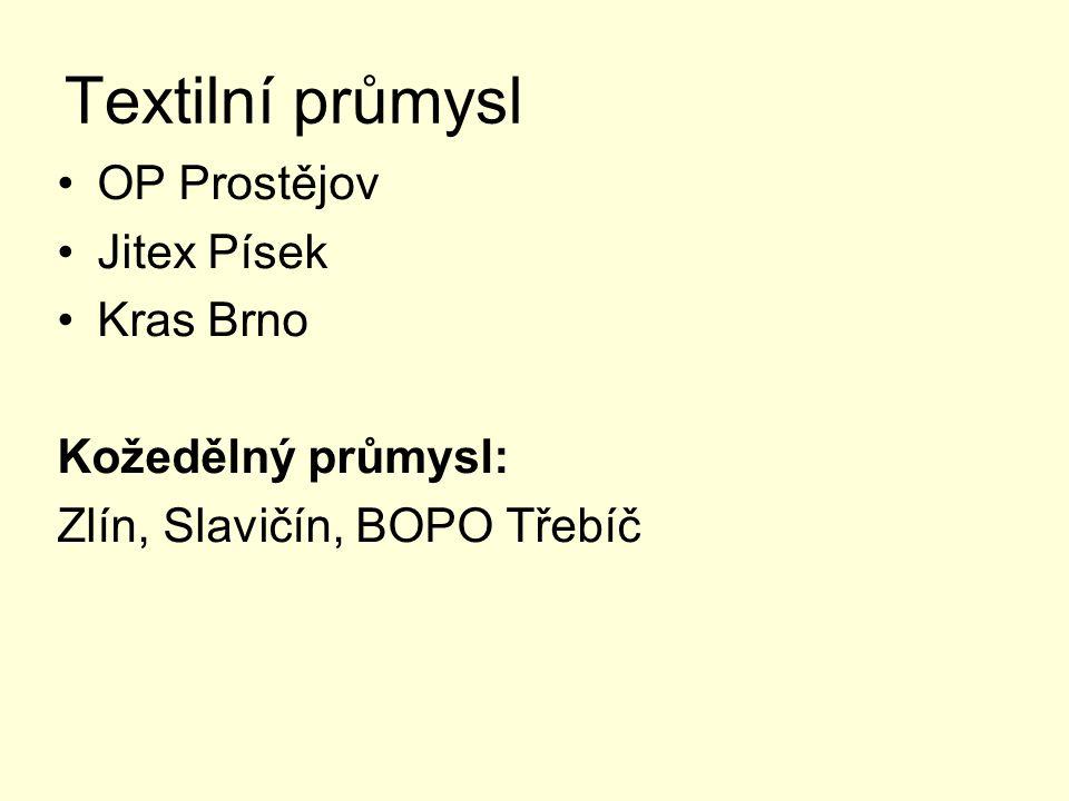 Textilní průmysl OP Prostějov Jitex Písek Kras Brno Kožedělný průmysl: Zlín, Slavičín, BOPO Třebíč