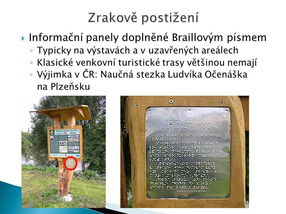  Informační panely doplněné Braillovým písmem ◦ V zahraničí také jen příležitostně ◦ Pouliční značení v Sydney (Austrálie) ◦ Informace u reliéfní mapy v centru Madridu ◦ a mnoho dalších...
