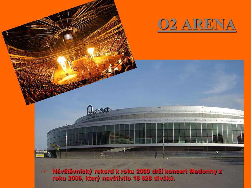 O2 ARENA Návštěvnický rekord k roku 2009 drží koncert Madonny z roku 2006, který navštívilo 18 628 diváků.Návštěvnický rekord k roku 2009 drží koncert Madonny z roku 2006, který navštívilo 18 628 diváků.