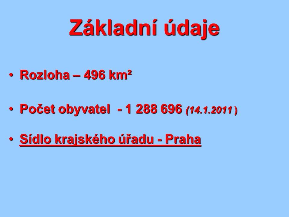 Základní údaje Rozloha – 496 km²Rozloha – 496 km² Počet obyvatel - 1 288 696 (14.1.2011 )Počet obyvatel - 1 288 696 (14.1.2011 ) Sídlo krajského úřadu - PrahaSídlo krajského úřadu - Praha