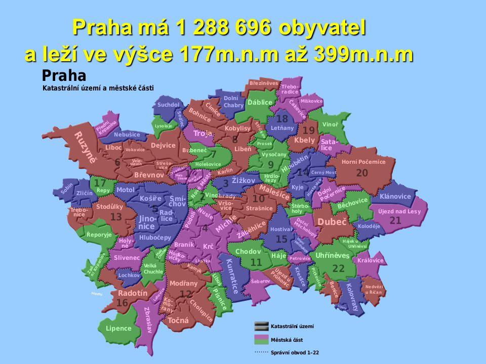 Praha má 1 288 696 obyvatel a leží ve výšce 177m.n.m až 399m.n.m