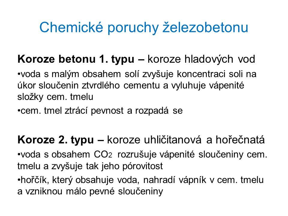 Chemické poruchy železobetonu Koroze betonu 1.