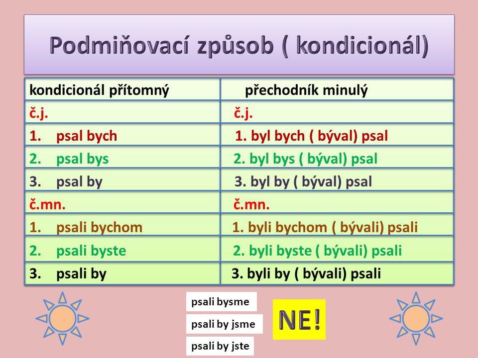 kondicionál přítomný přechodník minulý č.j. 1.psal bych 1. byl bych ( býval) psal 2.psal bys 2. byl bys ( býval) psal 3.psal by 3. byl by ( býval) psa