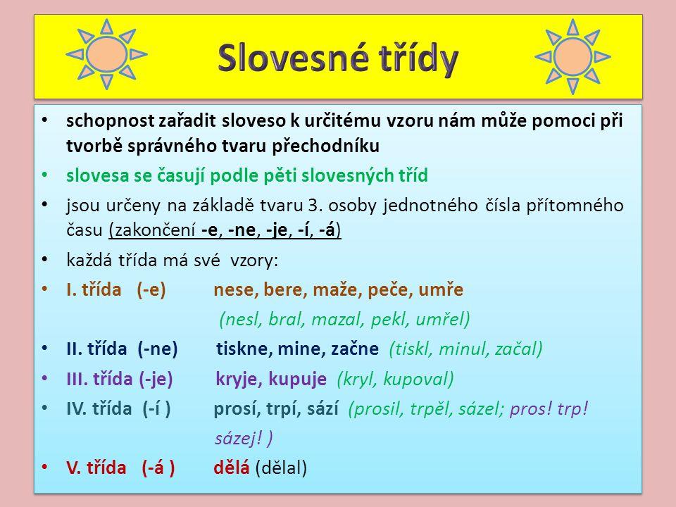 schopnost zařadit sloveso k určitému vzoru nám může pomoci při tvorbě správného tvaru přechodníku slovesa se časují podle pěti slovesných tříd jsou určeny na základě tvaru 3.