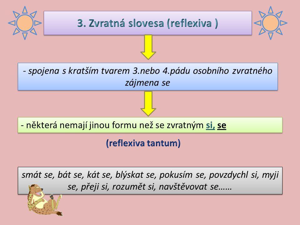 opisným tvarem trpným  skládá se z příčestí trpného + pomocné sloveso být příčestí trpné se tvoří z kmene minulého plnovýznamového slovesa připojením přípony a) – en: nes(l) = nes + -en (a; o; i/y/a) b) – n : děla(l) = dělá + -n c) – t : umy (l) = umy + -t opisné pasivum vyjadřuje stav nebo výsledek děje opisným tvarem trpným  skládá se z příčestí trpného + pomocné sloveso být příčestí trpné se tvoří z kmene minulého plnovýznamového slovesa připojením přípony a) – en: nes(l) = nes + -en (a; o; i/y/a) b) – n : děla(l) = dělá + -n c) – t : umy (l) = umy + -t opisné pasivum vyjadřuje stav nebo výsledek děje zvratnou podobou slovesa  tvoří se spojením tvaru 3.osoby činného rodu + zvratné zájmeno se zvratné pasivum vyjadřuje opakovanou činnost nebo děj zvratnou podobou slovesa  tvoří se spojením tvaru 3.osoby činného rodu + zvratné zájmeno se zvratné pasivum vyjadřuje opakovanou činnost nebo děj Tento program byl vysílán už před týdnem.