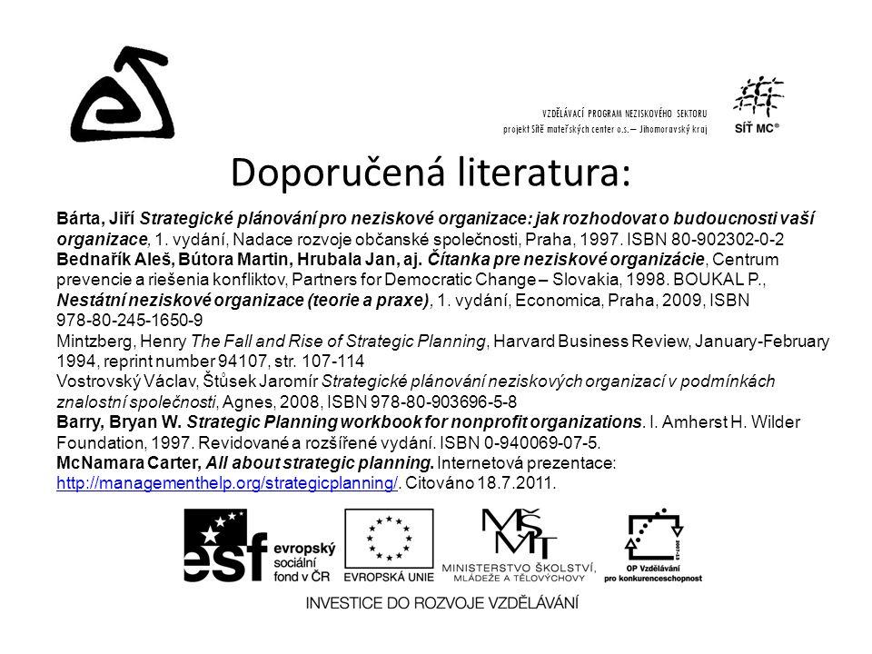 Doporučená literatura: VZDĚLÁVACÍ PROGRAM NEZISKOVÉHO SEKTORU projekt Sítě mateřských center o.s.