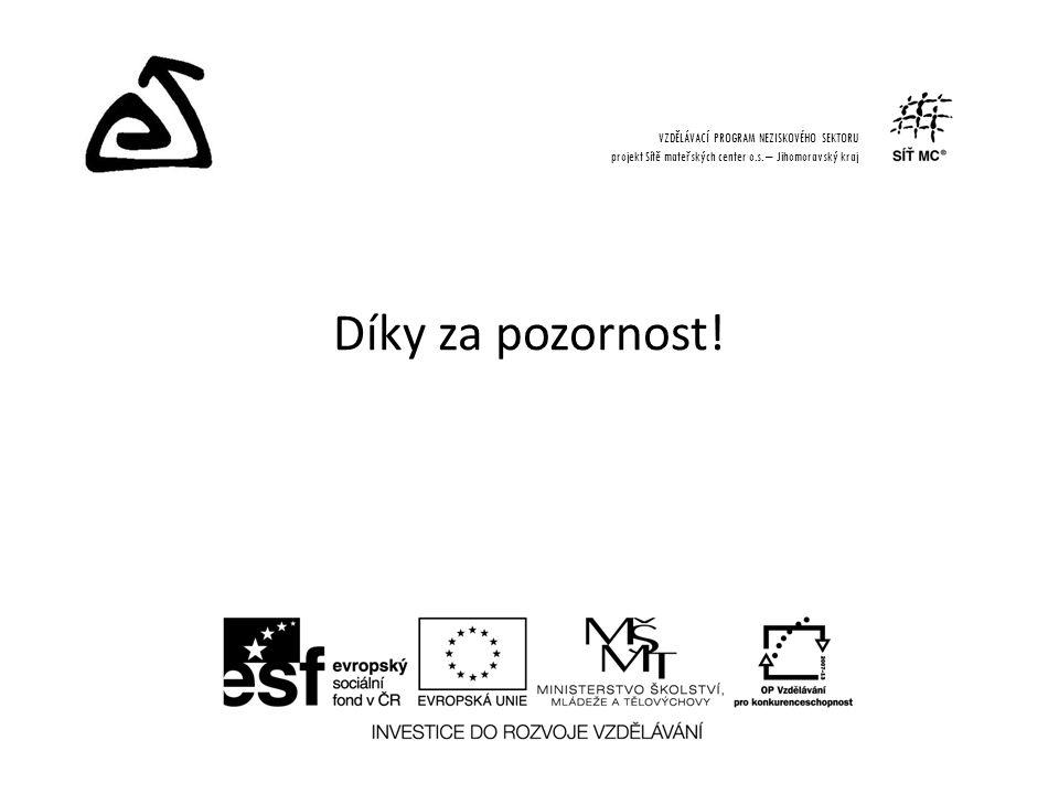 Díky za pozornost. VZDĚLÁVACÍ PROGRAM NEZISKOVÉHO SEKTORU projekt Sítě mateřských center o.s.
