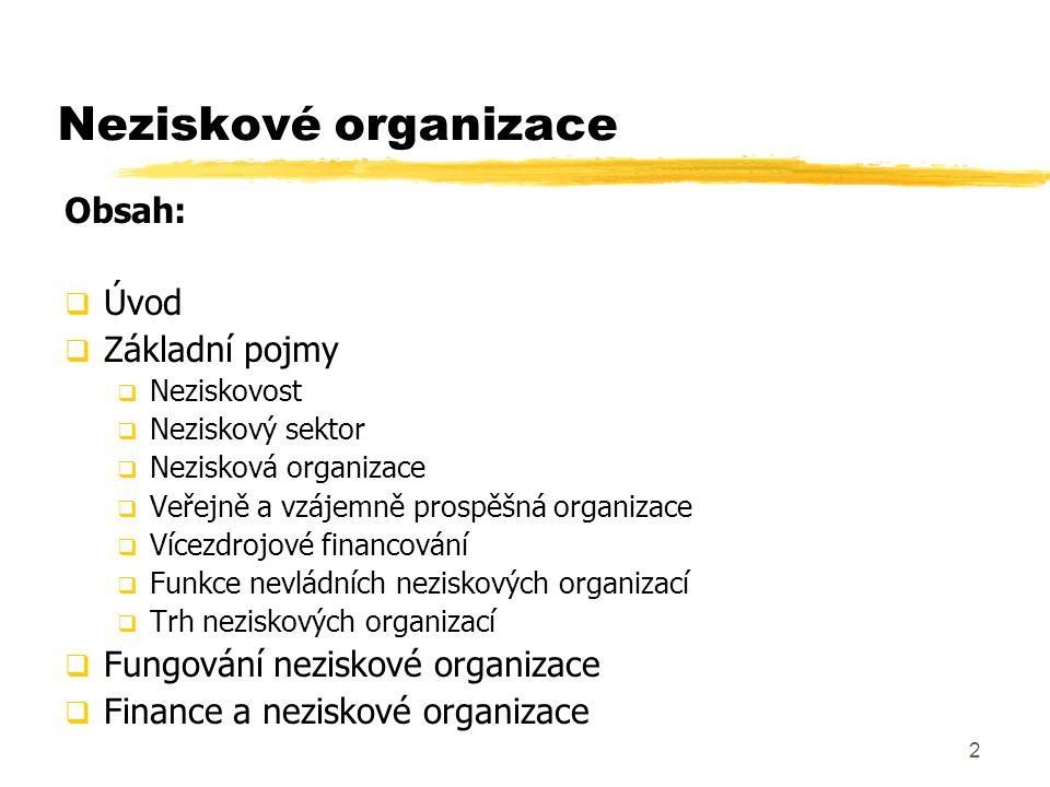 2 Neziskové organizace Obsah:  Úvod  Základní pojmy  Neziskovost  Neziskový sektor  Nezisková organizace  Veřejně a vzájemně prospěšná organizac
