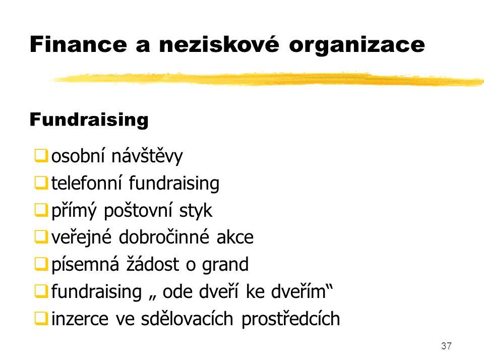 """37 Fundraising  osobní návštěvy  telefonní fundraising  přímý poštovní styk  veřejné dobročinné akce  písemná žádost o grand  fundraising """" ode dveří ke dveřím  inzerce ve sdělovacích prostředcích Finance a neziskové organizace"""