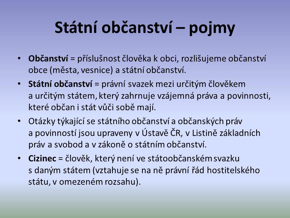 Státní občanství – pojmy Občanství = příslušnost člověka k obci, rozlišujeme občanství obce (města, vesnice) a státní občanství. Státní občanství = pr