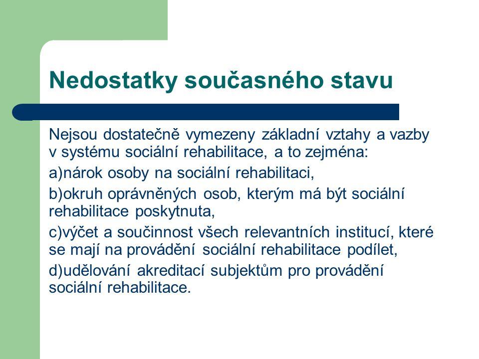 Nedostatky současného stavu Nejsou dostatečně vymezeny základní vztahy a vazby v systému sociální rehabilitace, a to zejména: a)nárok osoby na sociální rehabilitaci, b)okruh oprávněných osob, kterým má být sociální rehabilitace poskytnuta, c)výčet a součinnost všech relevantních institucí, které se mají na provádění sociální rehabilitace podílet, d)udělování akreditací subjektům pro provádění sociální rehabilitace.