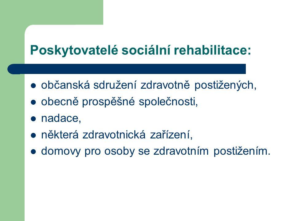 Poskytovatelé sociální rehabilitace: občanská sdružení zdravotně postižených, obecně prospěšné společnosti, nadace, některá zdravotnická zařízení, domovy pro osoby se zdravotním postižením.