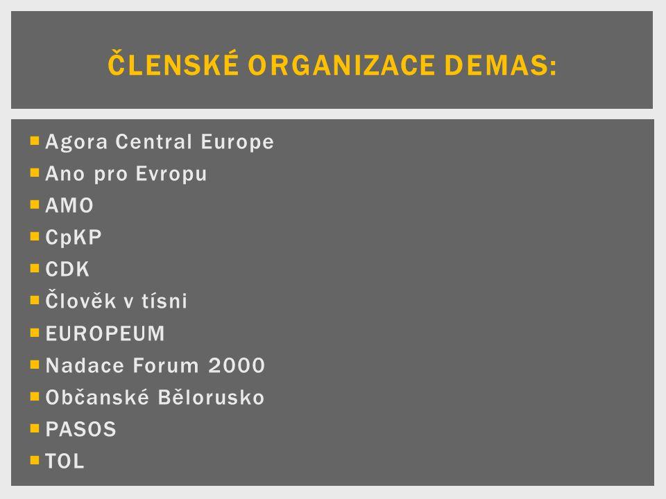  Agora Central Europe  Ano pro Evropu  AMO  CpKP  CDK  Člověk v tísni  EUROPEUM  Nadace Forum 2000  Občanské Bělorusko  PASOS  TOL ČLENSKÉ ORGANIZACE DEMAS: