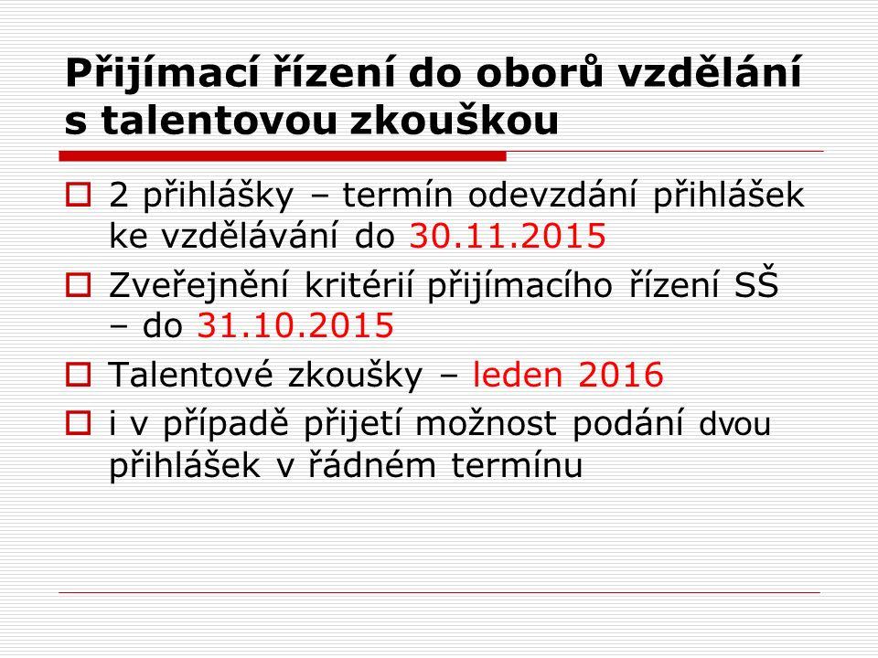 1.Kolo přijímacího řízení  Zveřejnění kritérií SŠ - do 31.1.