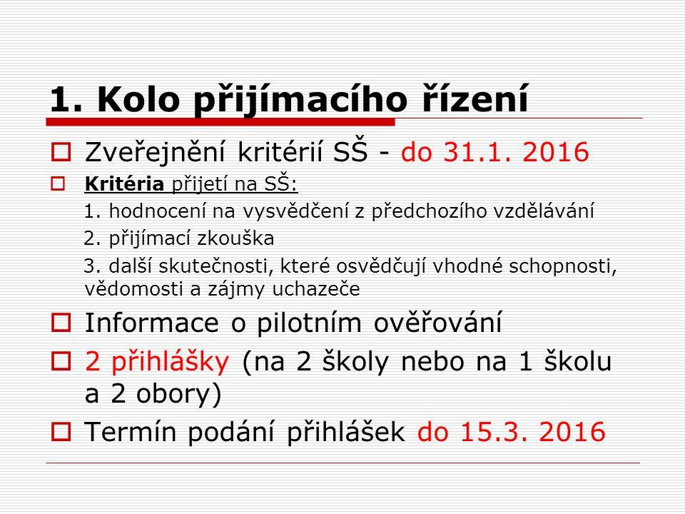 1. Kolo přijímacího řízení  Zveřejnění kritérií SŠ - do 31.1.