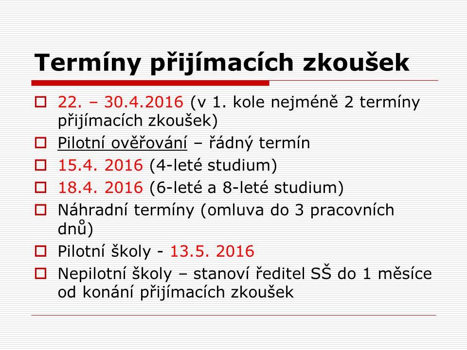 Termíny přijímacích zkoušek  22. – 30.4.2016 (v 1.