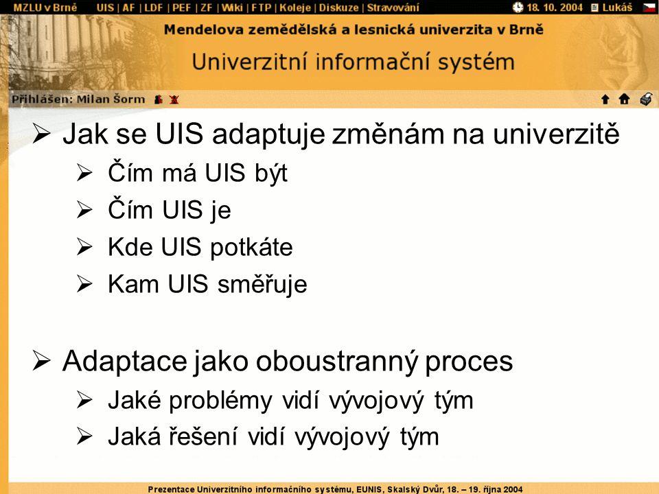  Jak se UIS adaptuje změnám na univerzitě  Čím má UIS být  Čím UIS je  Kde UIS potkáte  Kam UIS směřuje  Adaptace jako oboustranný proces  Jaké