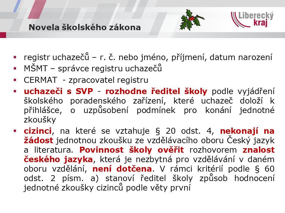 Novela školského zákona  registr uchazečů – r. č.