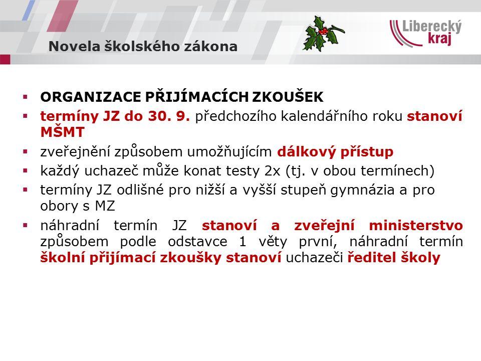 Novela školského zákona  ORGANIZACE PŘIJÍMACÍCH ZKOUŠEK  termíny JZ do 30.