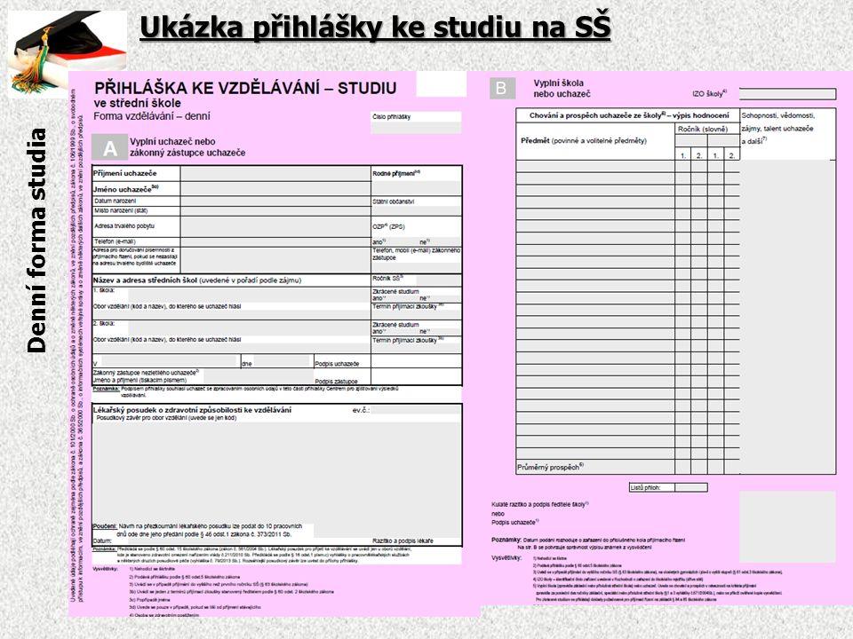 Ukázka přihlášky ke studiu na SŠ Denní forma studia