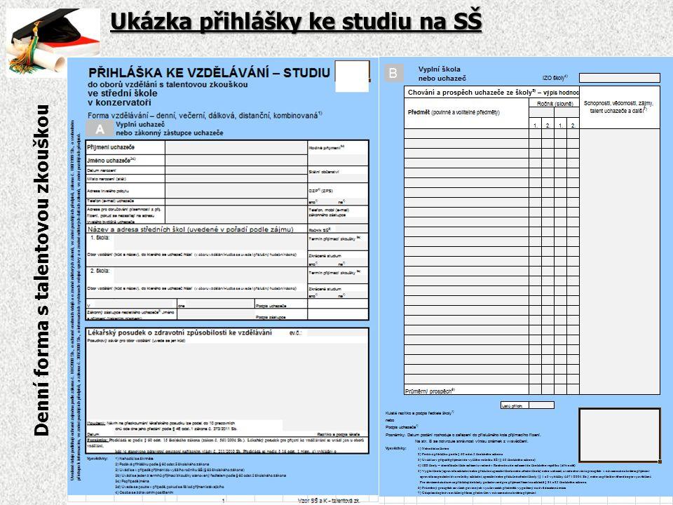 Ukázka přihlášky ke studiu na SŠ Denní forma s talentovou zkouškou