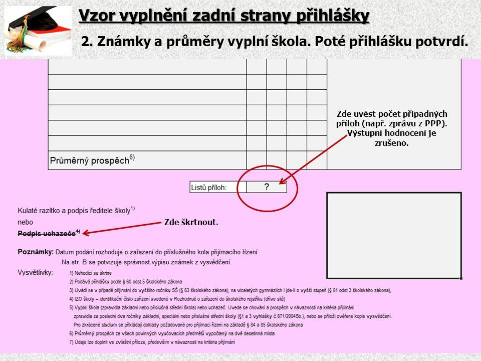 Vzor vyplnění zadní strany přihlášky 2. Známky a průměry vyplní škola.