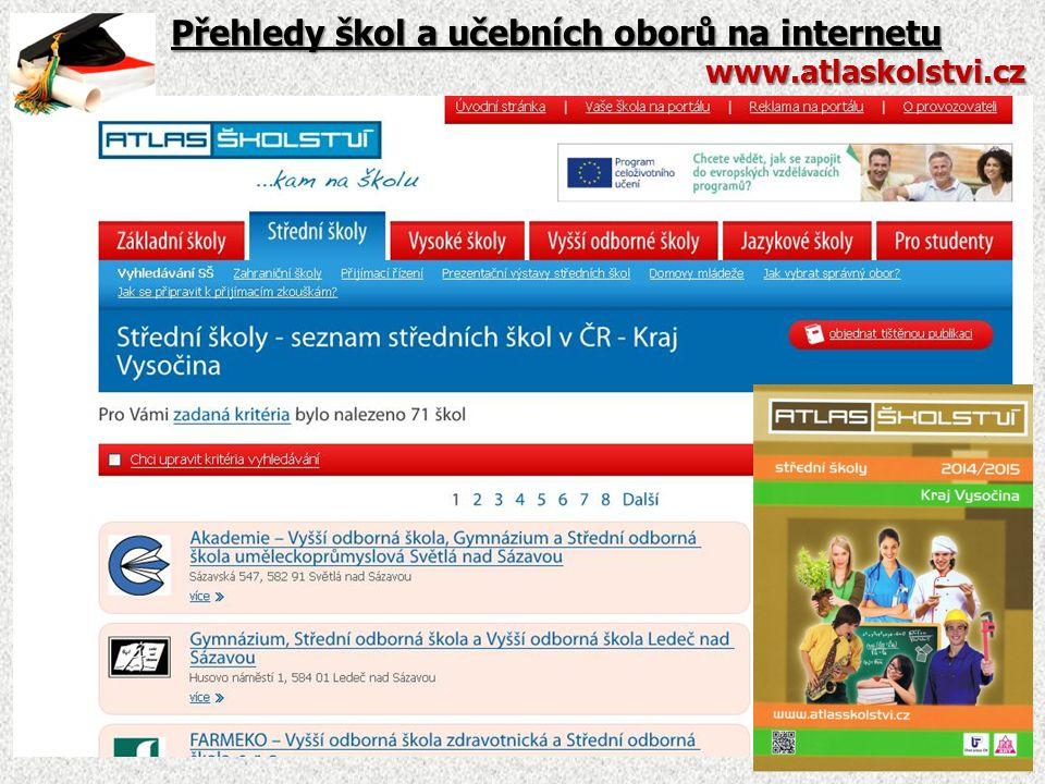 Přehledy škol a učebních oborů na internetu www.atlaskolstvi.cz