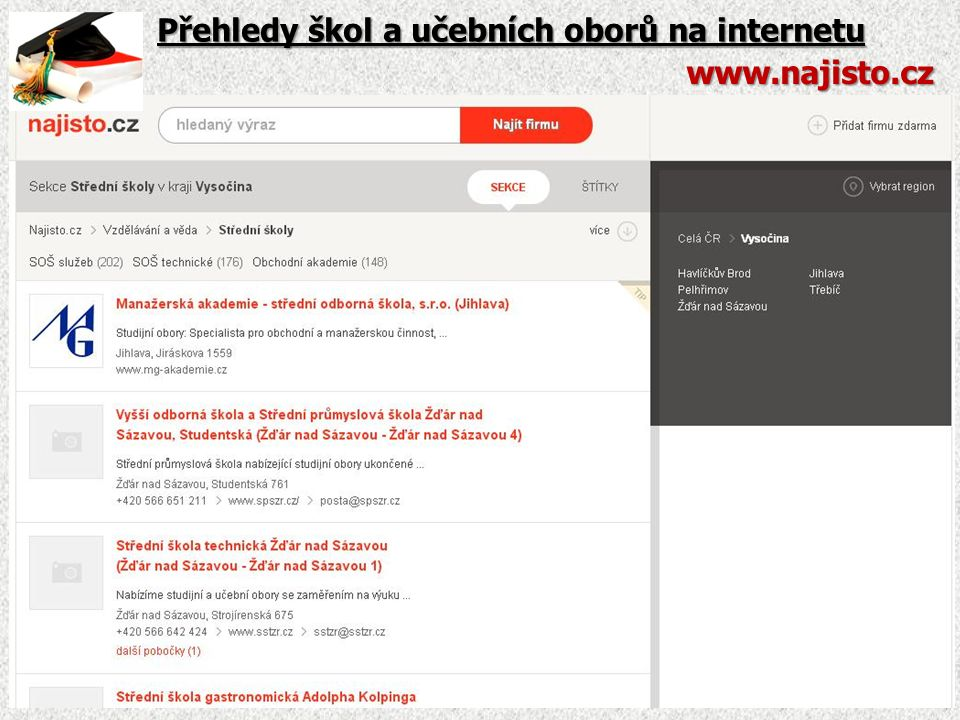 Webové stránky jednotlivých škol