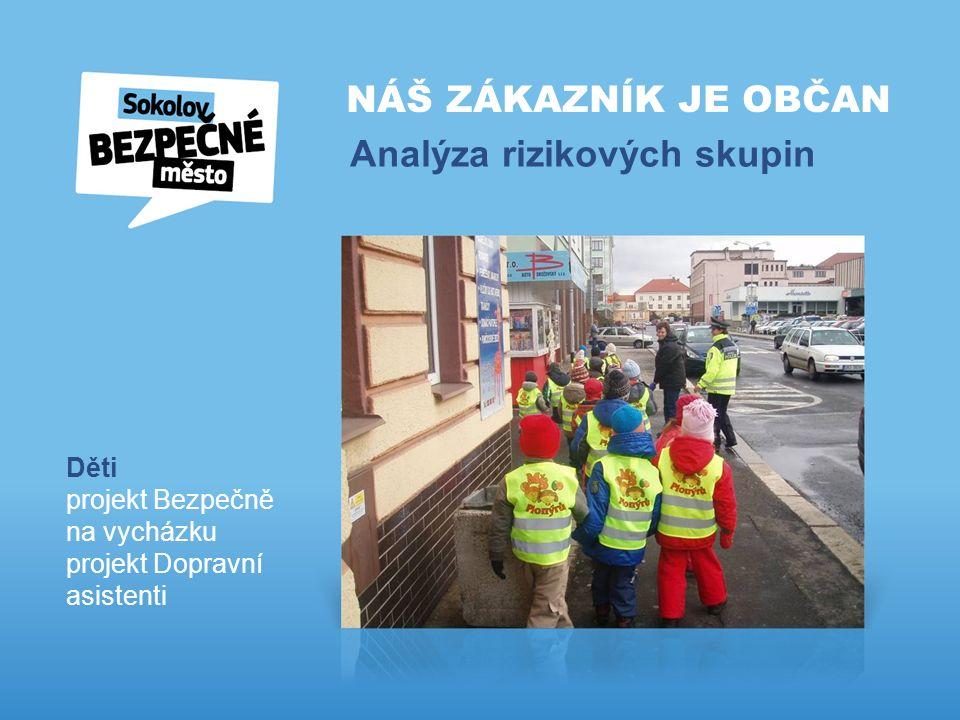 NÁŠ ZÁKAZNÍK JE OBČAN Analýza rizikových skupin Děti projekt Bezpečně na vycházku projekt Dopravní asistenti