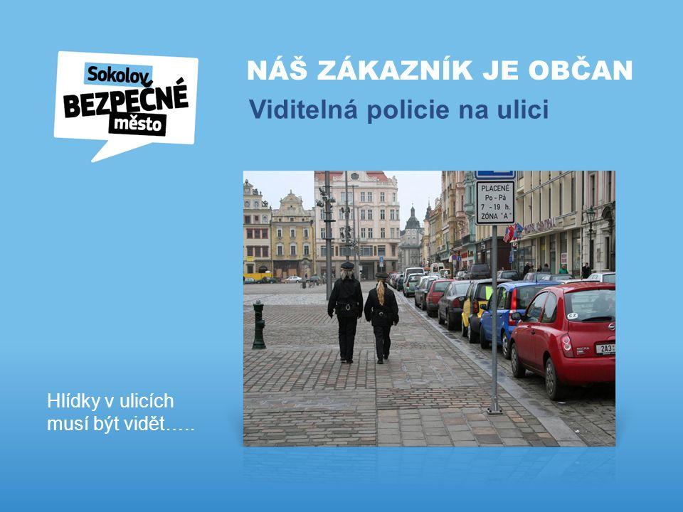 NÁŠ ZÁKAZNÍK JE OBČAN Viditelná policie na ulici Hlídky v ulicích musí být vidět…..
