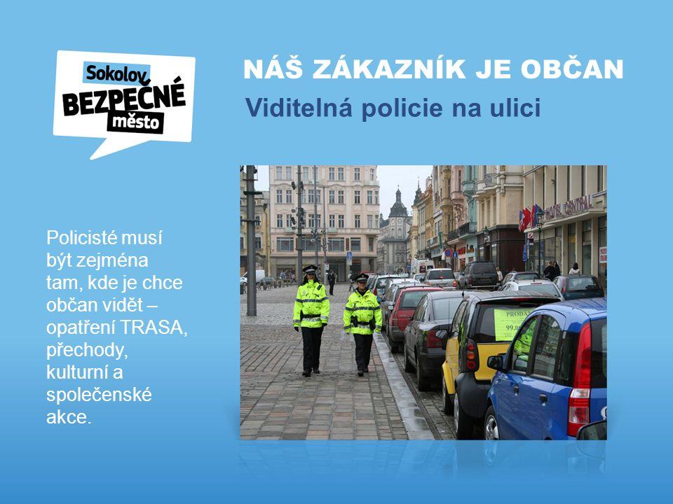 NÁŠ ZÁKAZNÍK JE OBČAN Viditelná policie na ulici Policisté musí být zejména tam, kde je chce občan vidět – opatření TRASA, přechody, kulturní a společenské akce.