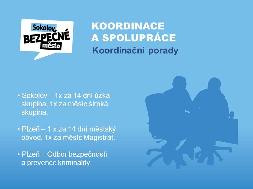 KOORDINACE A SPOLUPRÁCE Koordinační porady Sokolov – 1x za 14 dní úzká skupina, 1x za měsíc široká skupina.
