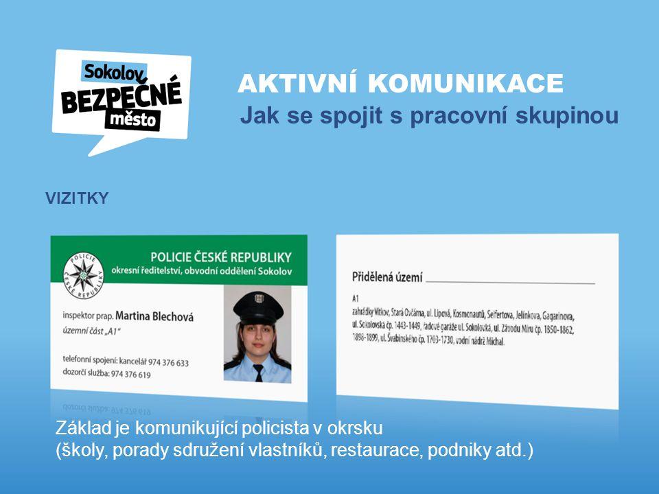 AKTIVNÍ KOMUNIKACE Jak se spojit s pracovní skupinou VIZITKY Základ je komunikující policista v okrsku (školy, porady sdružení vlastníků, restaurace, podniky atd.)