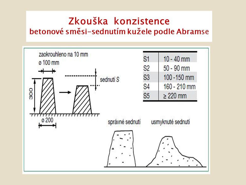 Zkouška konzistence betonové směsi-sednutím kužele podle Abramse