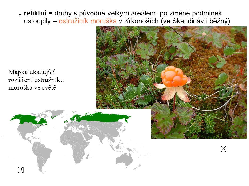 reliktní = druhy s původně velkým areálem, po změně podmínek ustoupily – ostružiník moruška v Krkonoších (ve Skandinávii běžný) [8][8] [9][9] Mapka ukazující rozšíření ostružníku moruška ve světě