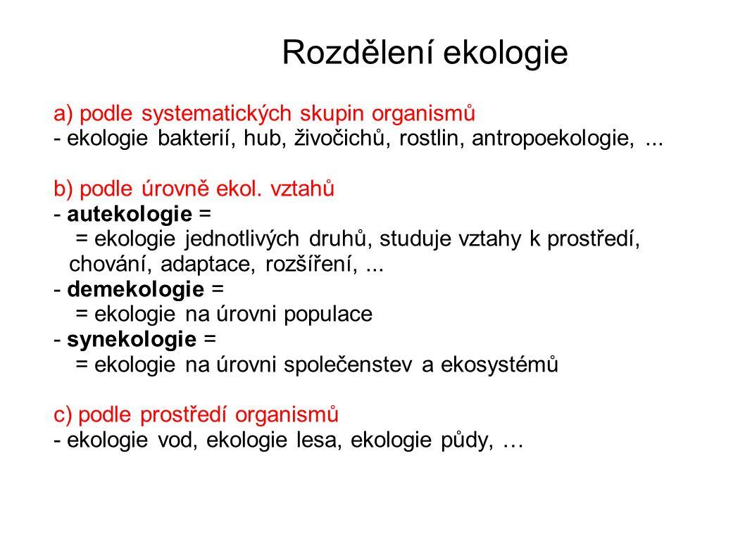 Rozdělení ekologie a) podle systematických skupin organismů - ekologie bakterií, hub, živočichů, rostlin, antropoekologie,...
