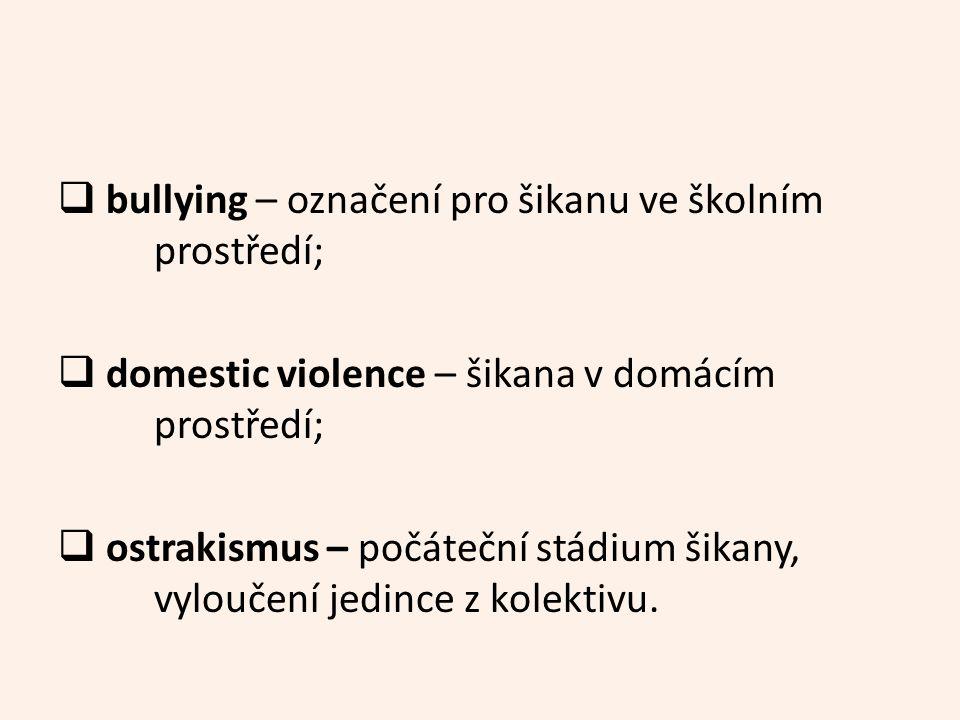  bullying – označení pro šikanu ve školním prostředí;  domestic violence – šikana v domácím prostředí;  ostrakismus – počáteční stádium šikany, vyloučení jedince z kolektivu.