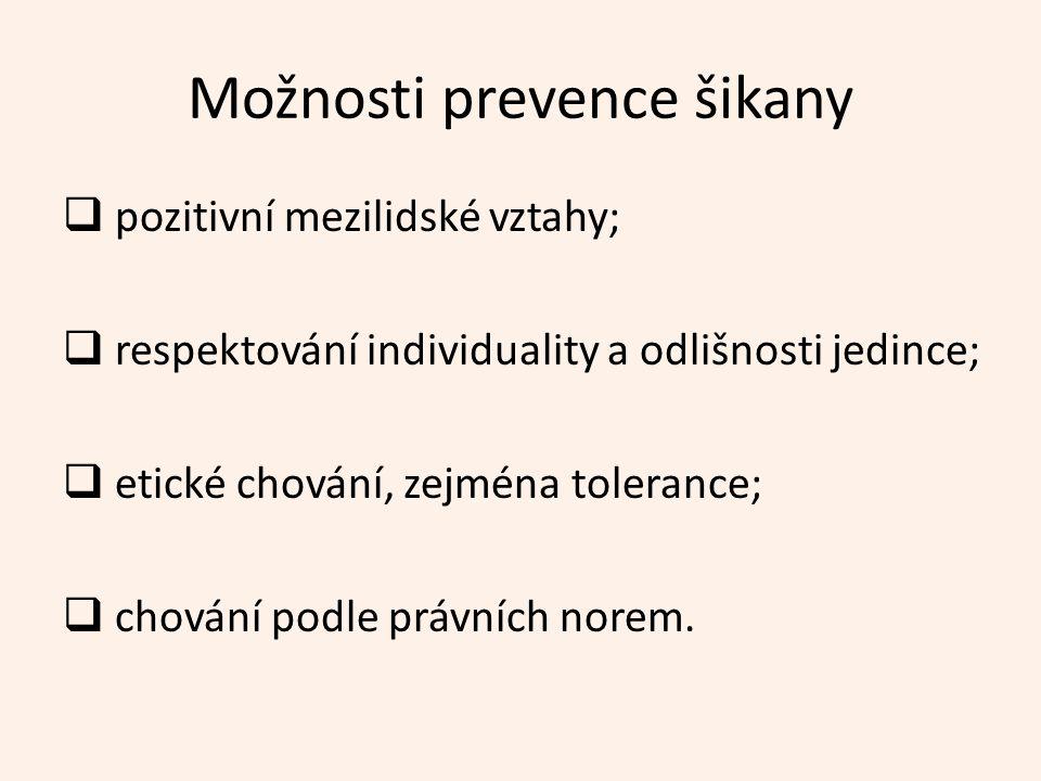 Možnosti prevence šikany  pozitivní mezilidské vztahy;  respektování individuality a odlišnosti jedince;  etické chování, zejména tolerance;  chování podle právních norem.