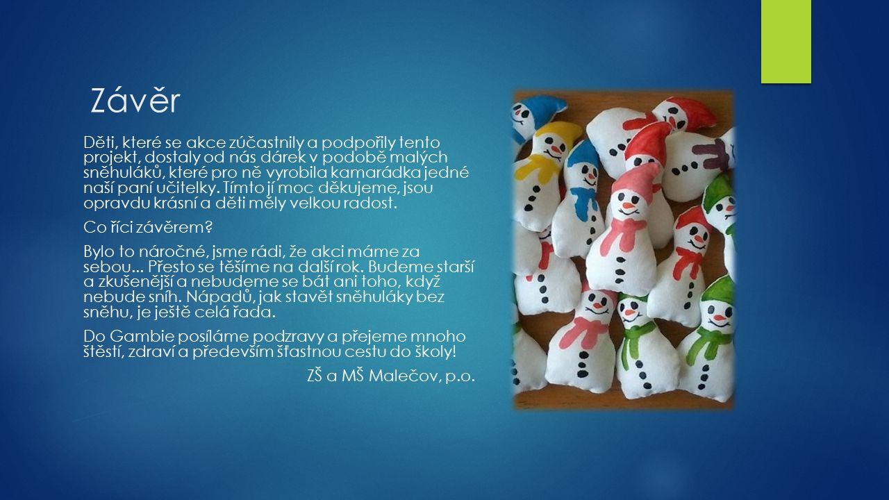 Závěr Děti, které se akce zúčastnily a podpořily tento projekt, dostaly od nás dárek v podobě malých sněhuláků, které pro ně vyrobila kamarádka jedné naší paní učitelky.