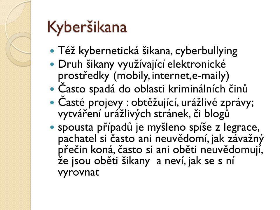 Kyberšikana Též kybernetická šikana, cyberbullying Druh šikany využívající elektronické prostředky (mobily, internet,e-maily) Často spadá do oblasti k