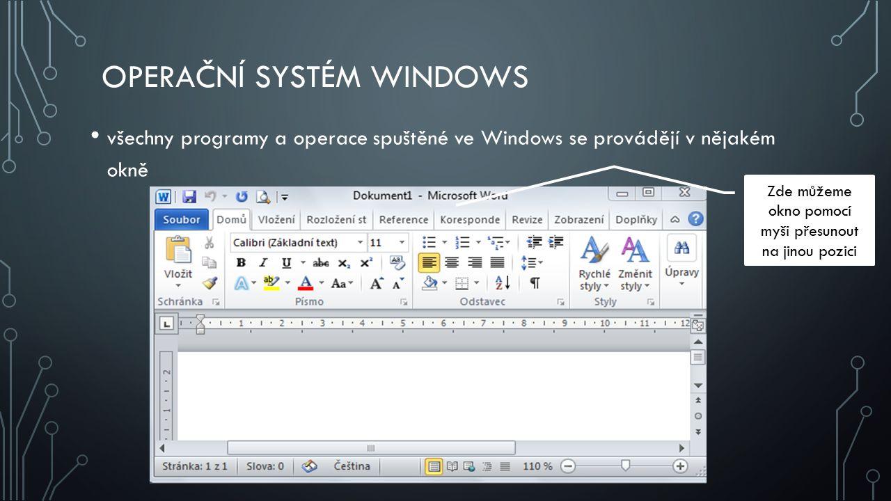OPERAČNÍ SYSTÉM WINDOWS všechny programy a operace spuštěné ve Windows se provádějí v nějakém okně Zde můžeme okno pomocí myši přesunout na jinou pozici