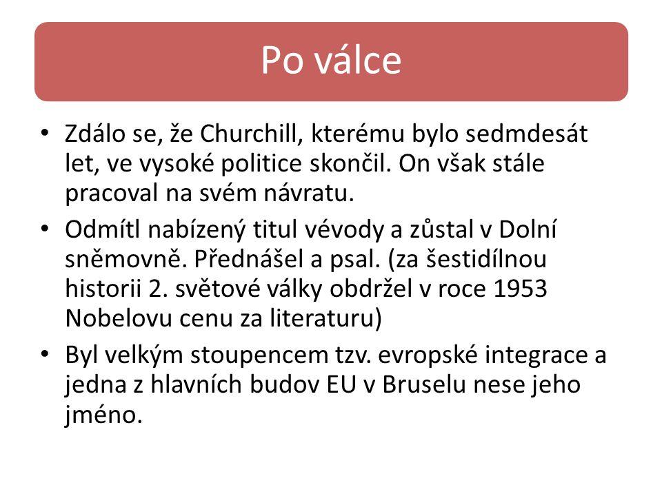 Po válce Zdálo se, že Churchill, kterému bylo sedmdesát let, ve vysoké politice skončil. On však stále pracoval na svém návratu. Odmítl nabízený titul