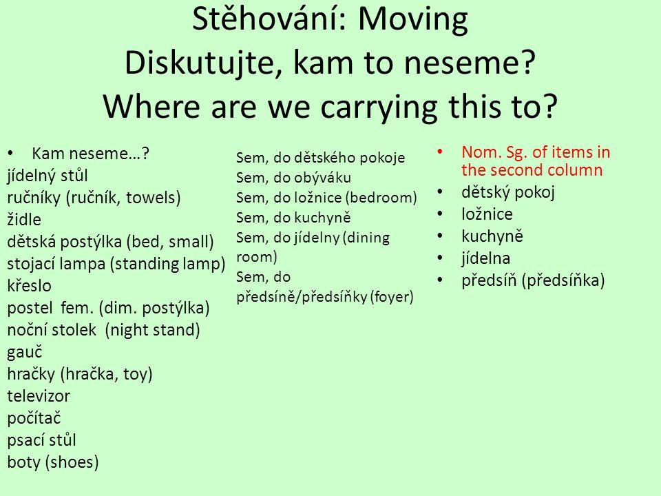 Stěhování: Moving Diskutujte, kam to neseme.Where are we carrying this to.