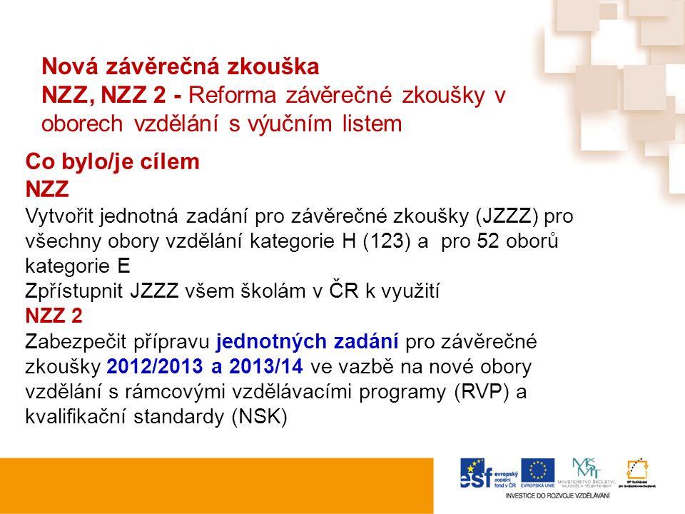 Nová závěrečná zkouška NZZ, NZZ 2 - Reforma závěrečné zkoušky v oborech vzdělání s výučním listem Co bylo/je cílem NZZ Vytvořit jednotná zadání pro zá
